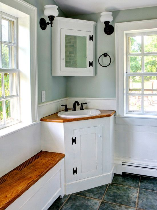 Small Bathroom Corner Sinks Pictures For Your Studio Apartment Designs : Charming Small Bathroom Corner Sinks With White Windows Frames Wooden Window Seat Wall Mounted Lightingwooden Sink With Cabinet