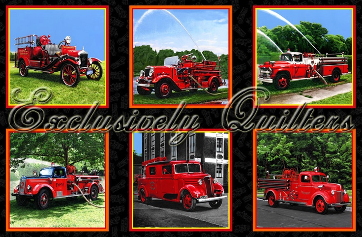 Firefighter Fabric Exclusively Quilters Fabric Panel 3636