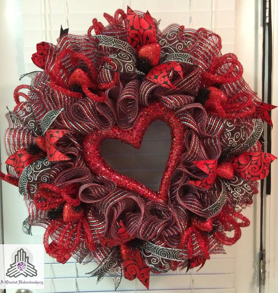 Valentine's Day Red/Silver Heart Ruffle by AQuaintHaberdashery