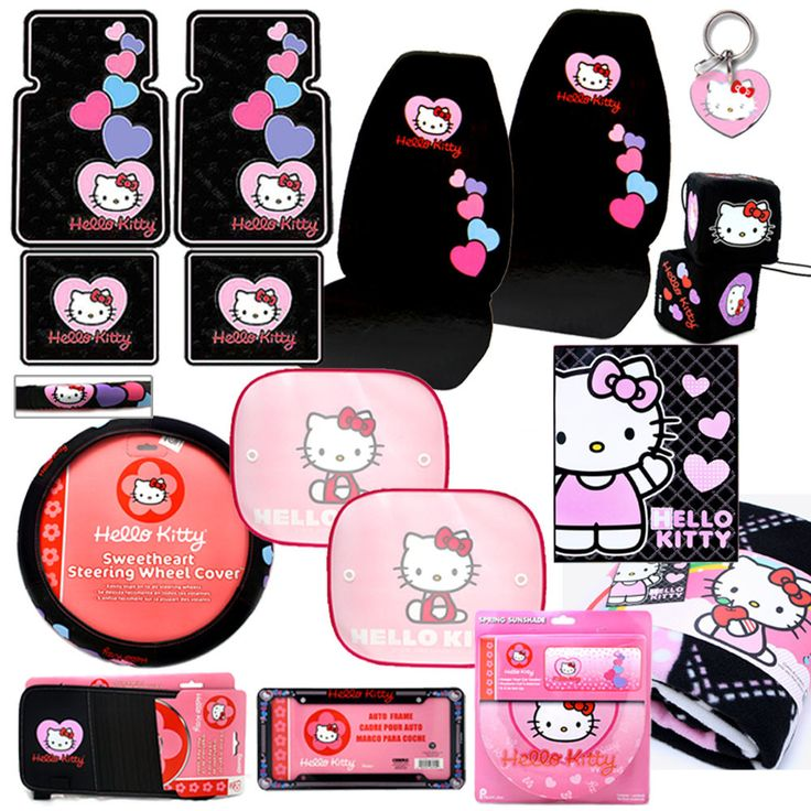 hello kitty accessories | Hello Kitty Car Seat Covers Auto Accessories Set -15PC