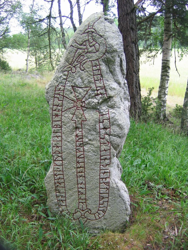This runestone in a grove near Väsby, Uppland, Sweden, was raised by a Viking in commemoration of his receiving one danegeld in England.