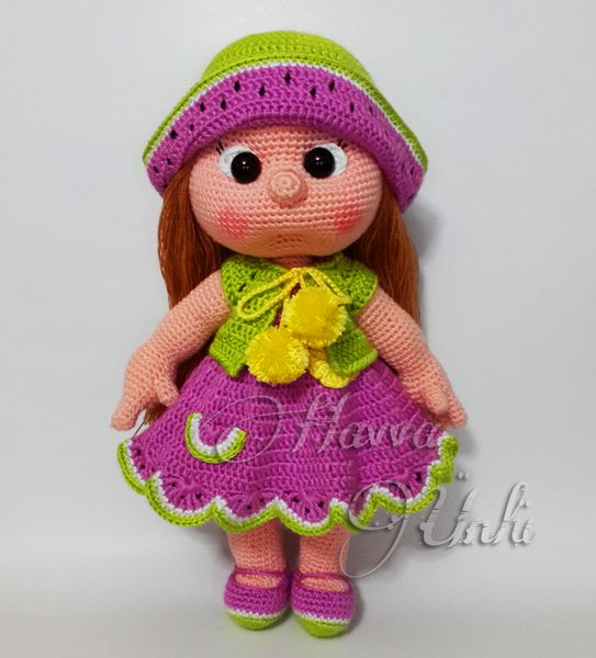 Wassermelone Puppe Häkelanleitung von HavvaDesigns auf DaWanda.com