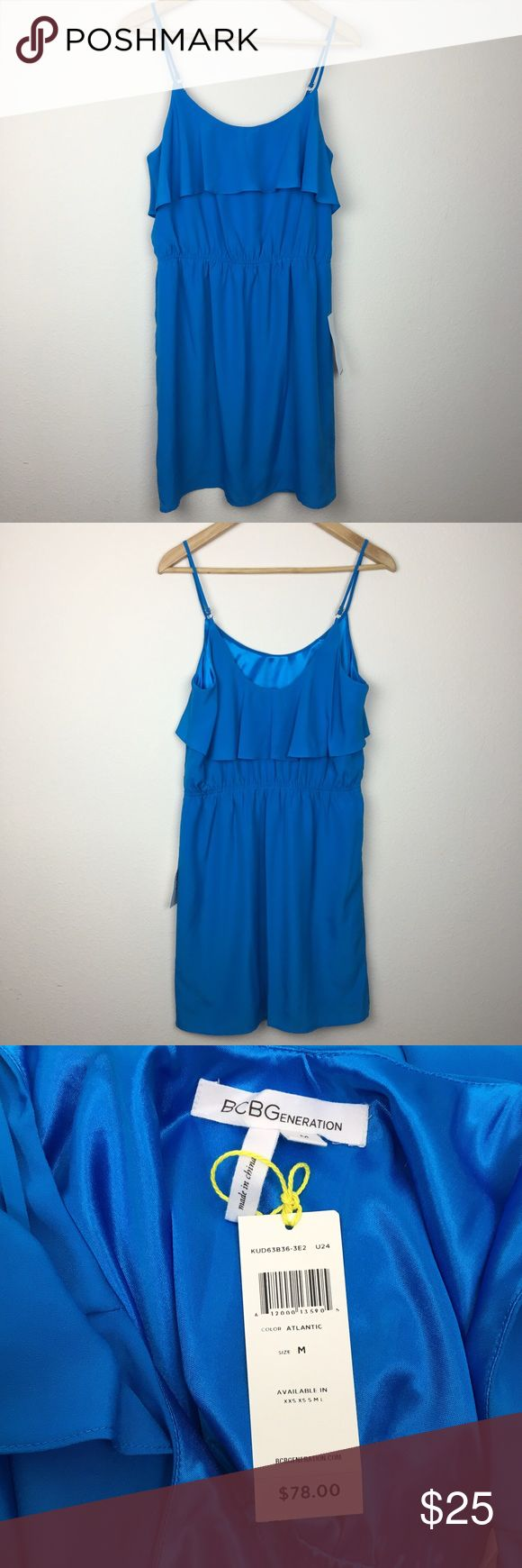 "BCBGeneration Spaghetti Strap Atlantic Dress M NWT. Brand: BCBGeneration Style: Spaghetti Strap Dress. Material: Self 100% Polyester, Lining 100% Polyester. Color: Blue. Size Medium. Length without straps 31"" Armpit to armpit 18"". Adjustable straps. Made in China. Make an offer. BCBGeneration Dresses"