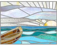 Boat and sun stained glass pattern