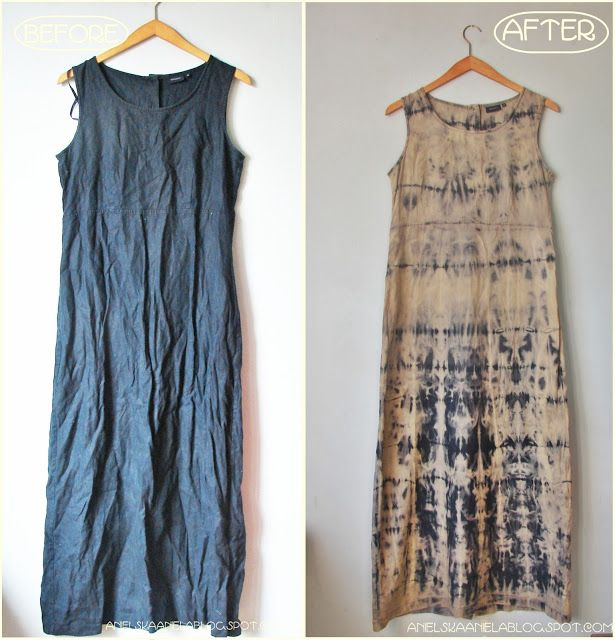 Diy Tutorial shibori bleach dress Sukienka wybielana ala Shibori Diy
