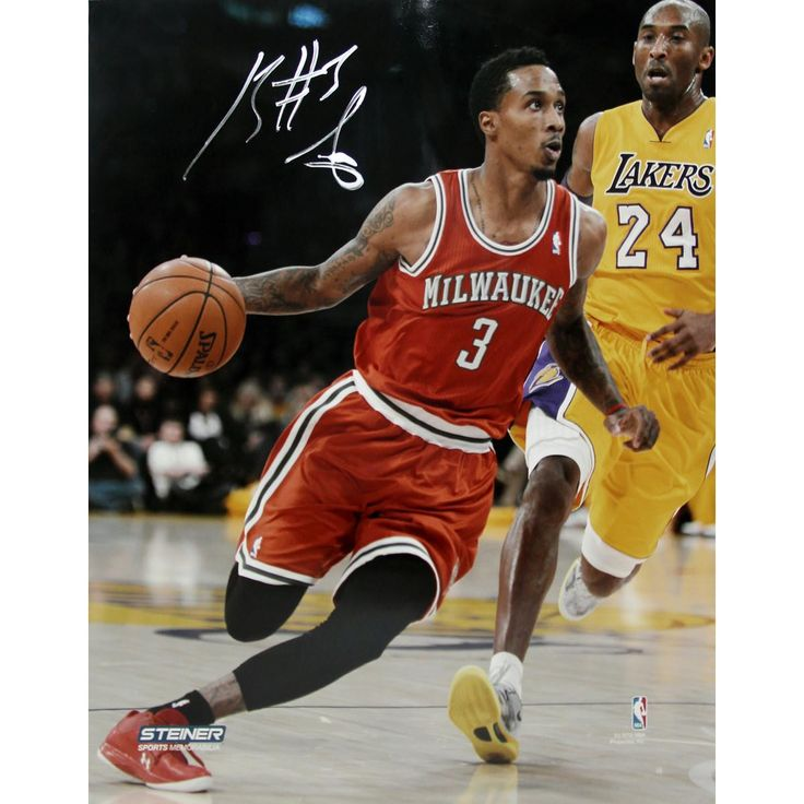 Brandon Jennings Drives Passed Kobe Bryant Signed 8x10 Photo(Getty 159553698)