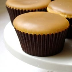 Caramel Cupcakes. A tender vanilla buttermilk cake with sweet-salty caramel icing.