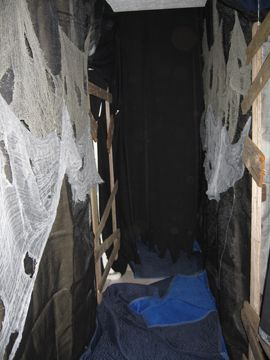 halloween walls for haunted house use pvc frames and black mesh fabric