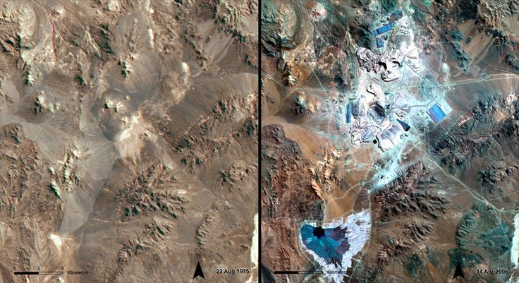 The La Escondida Mine, an open-pit mine in northern Chile, produces the most copper of any mine in the world — some 360 million metric tons per year. Its impact on the Atacama Desert environment can be seen by comparing the 1975 image, taken before mining began, with the 2008 picture. via NASA
