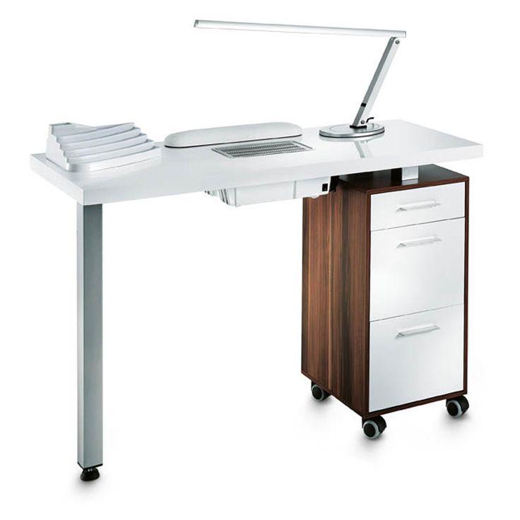 Piano: bianco laccato.Mobiletto: legno noce.Cassetti: legno noce. Misure in cm: 115x50x79Elegante e raffinato tavolo per manicure della