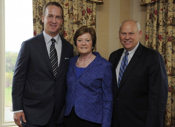 Denver Broncos quarterback and former Vol Peyton Manning, left, UT coach emeritus Pat Summitt, center, and former UT football coach Phillip Fulmer, right, after an event for The Pat Summitt Foundation at the Cherokee Country Club, Thursday, April 11, 2013. The foundation was formed to help in the research and fight against alzheimer's disease. (AMY SMOTHERMAN BURGESS/NEWS SENTINEL) @Sandra Pendle Pendle Taylor...