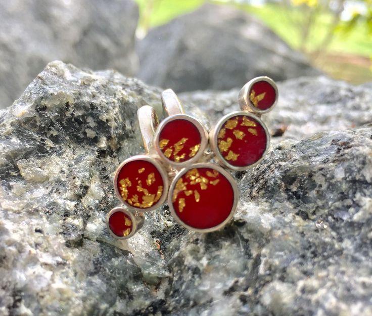 One of a kind enamel ring with transparent red enamel and golden leaves – Folt Bolt Shop