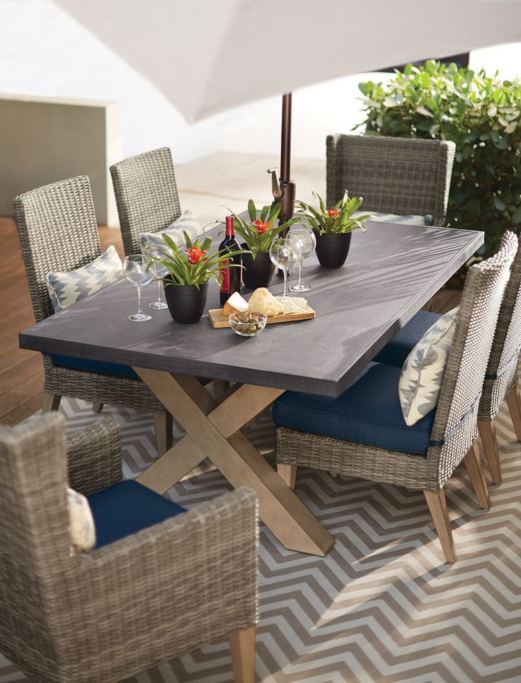 Dine With Friends On The Patio Around An Elegantly Modern Outdoor Dining  Set. HomeDecorators.