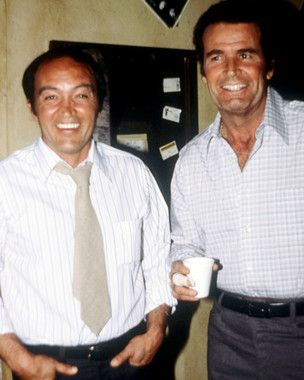 "Joe Santos (R.I.P. 2016) 85, and James Garner on the set of ""The Rockford Files"""