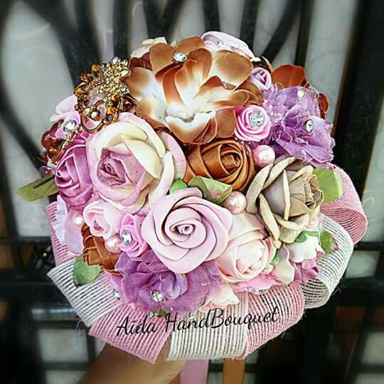 HandBouquet PINK ,MilkBrown by #AidaBrooch