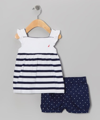 Take a look at this Medium Navy Stripe Tunic & Shorts - Infant & Toddler by Nautica on #zulily today!