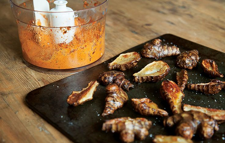 Roast Jerusalem artichokes with romesco sauce. Follow link for full recipe from appetite, North East England's dedicated food & drink publication.