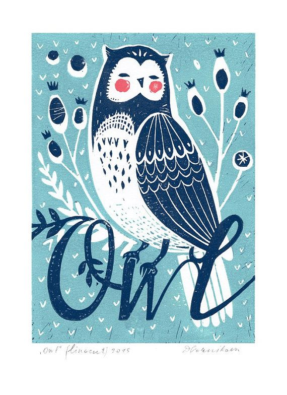 """Original Linocut print """"Owl"""" in 2 colours, unframed wall poster, Limited…"""