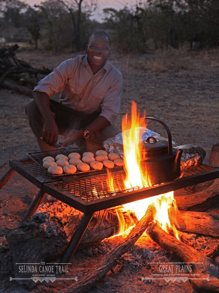 Dinner, bush style on the Selinda Canoe Trail