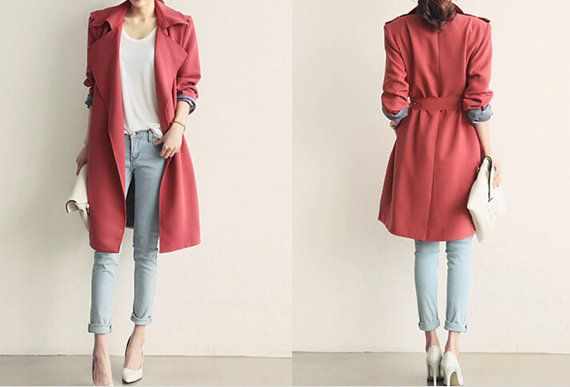 Red cotton coat autumn/ winter jacket  casual by sexyclothing