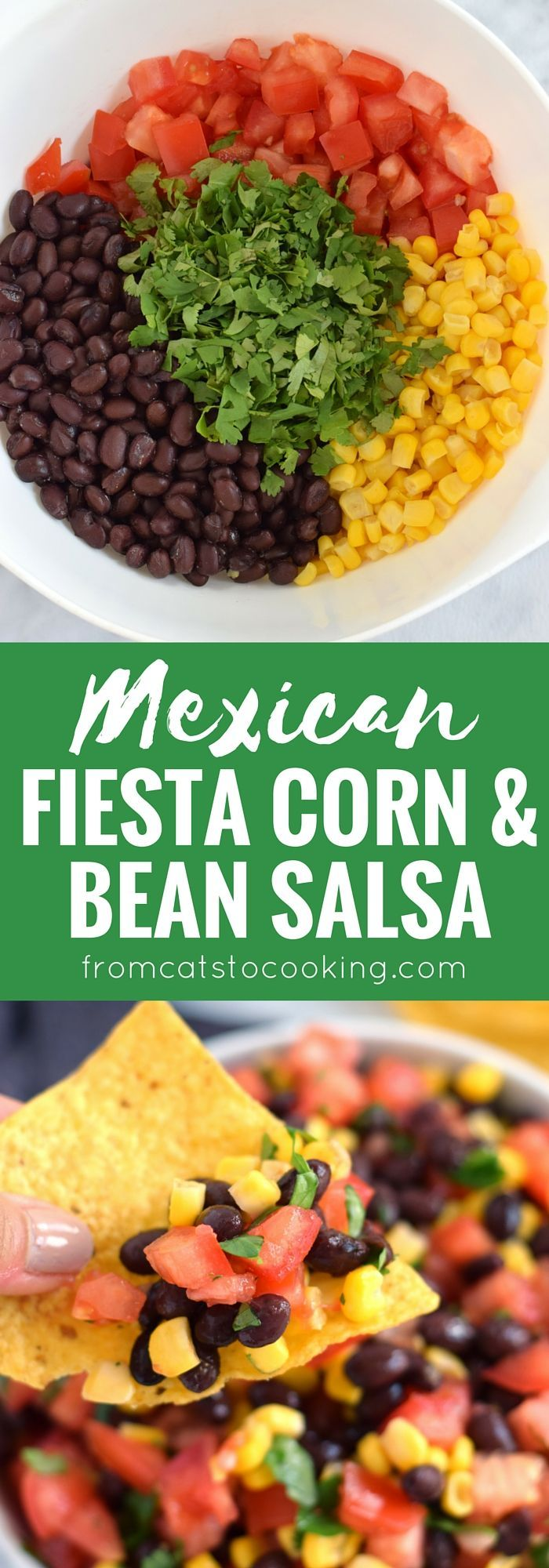 A super easy, bright and fresh Mexican Fiesta Corn & Bean Salsa recipe that takes only 10 minutes to make! Is gluten free, vegetarian, vegan and perfect for the spring and summer months. // http://isabeleats.com