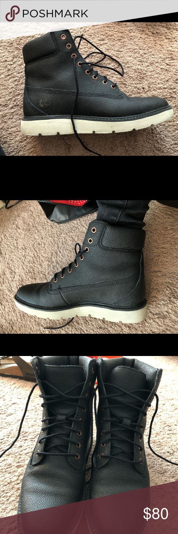Black leather Timberlands Black leather lace up timberland boots. About a year old. Not super worn. Still in excellent condition aside from the bottoms being dirty. Timberland Shoes Lace Up Boots