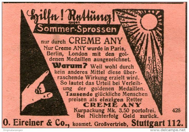 Original-Werbung/ Anzeige 1928 - CREME ANY / EIREINER - STUTTGART - ca. 70 x 45 mm