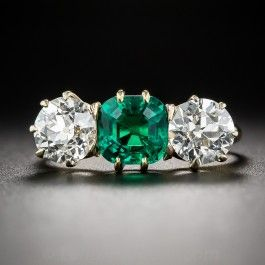 Gem 1.30 Carat Colombian Emerald and Diamond Ring - What's New