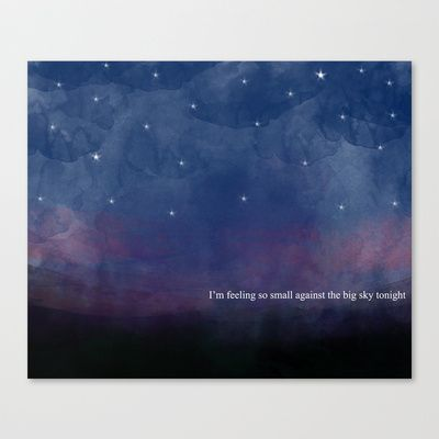 Watercolour Night Sky Stretched Canvas with Quote from Swell Season
