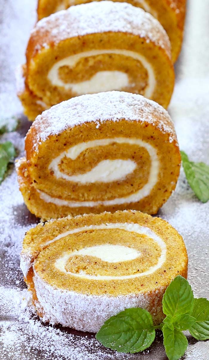 Nothing speaks fall more than a pumpkin roll. The moist pumpkin-spiced cake is filled with soft, sweet cream cheese. Perfect for Thanksgiving.