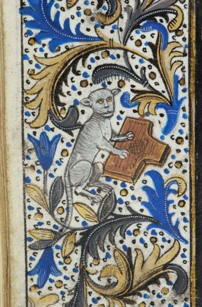 Cat playing a psaltery | from a Belgian Book of Hours, c. 1470 [Pierpont Morgan Library]