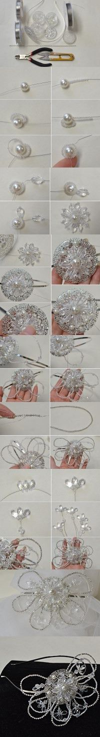 Tutorial on How do You Make Flower Headbands with Pearl Beads and Glass Beads…