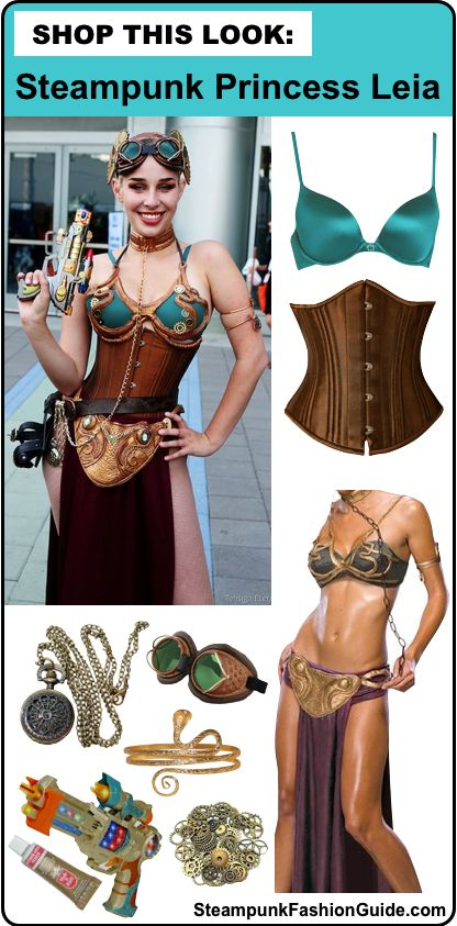 How to recreate this Steampunk Slave Leia cosplay. What to buy, where to buy it, and how to DIY all the details! Shop this look: Star Wars/Princess Leia/Slave Leia cosplay. - For costume tutorials, clothing guide, fashion inspiration photo gallery, calendar of Steampunk events, & more, visit SteampunkFashionGuide.com