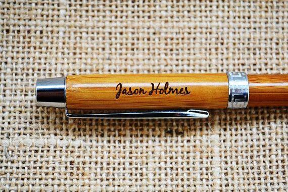 Custom Bamboo Pen laser engraved weddings by MissBoldDesign