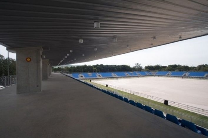 Rio's Olympic Equestrian facility's arena set up for an earlier competition