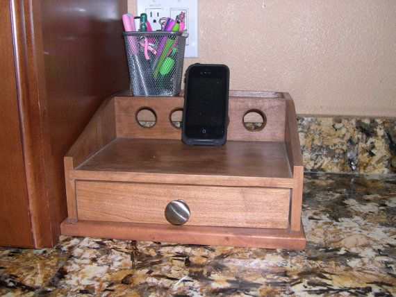 Cell Phone Charging Station Cherry by JBHardwoods on Etsy, $55.00