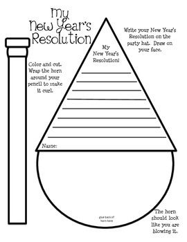 Students write their New Year's Resolution on the party hat.  Then, they draw on their face.  They color and decorate the horn, and then wrap it around their pencil to make it curl like a party horn.  They glue it on their mouth to make it look like they are blowing it.