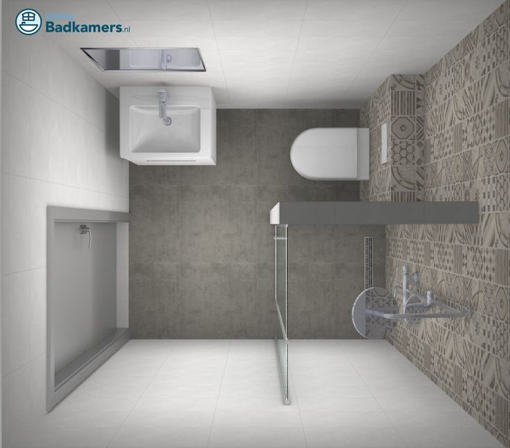 Kleine badkamer met trendy tegels kleine badkamers bathroom pinterest - Betegelde badkamer ontwerp ...