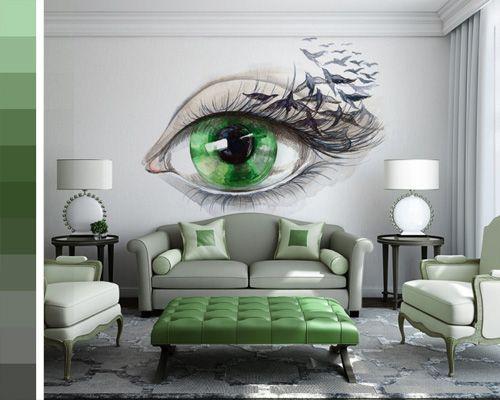 Sala moderna con toques en verde. #IdeasenOrden #clósets #decoracion