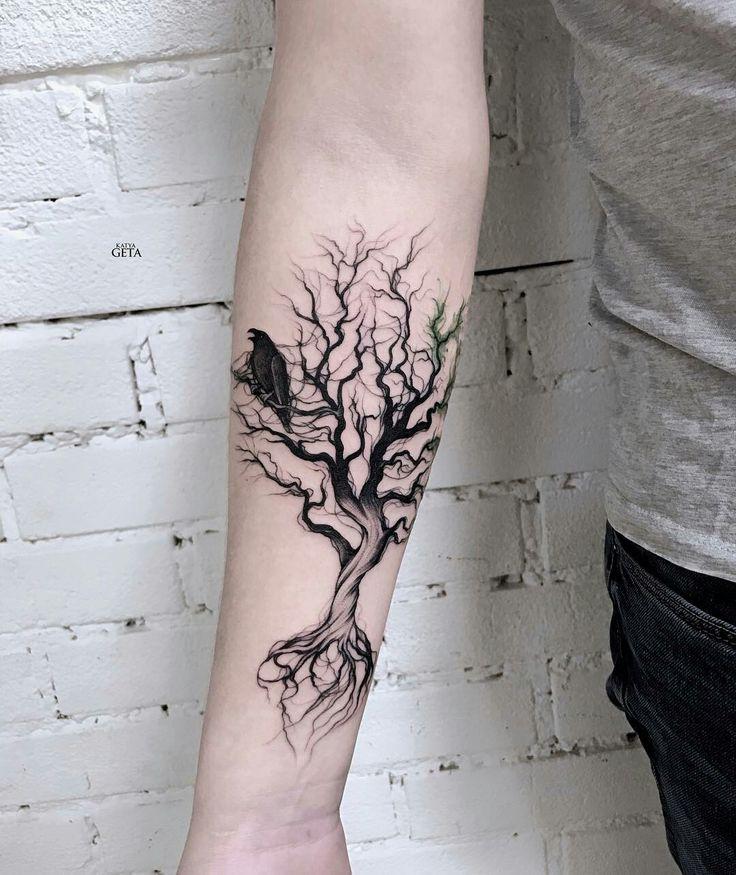 Tattoo done by: @katyageta #arbol #raven #raventattoo #cuervo