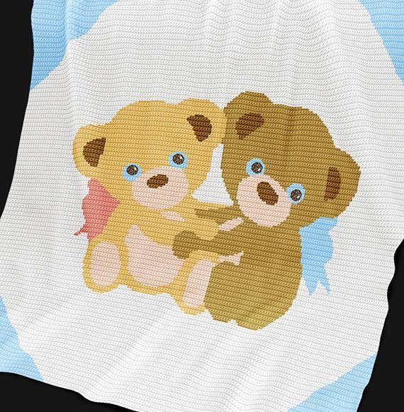 FREE Crochet Baby Blanket Pattern - Twin Bears