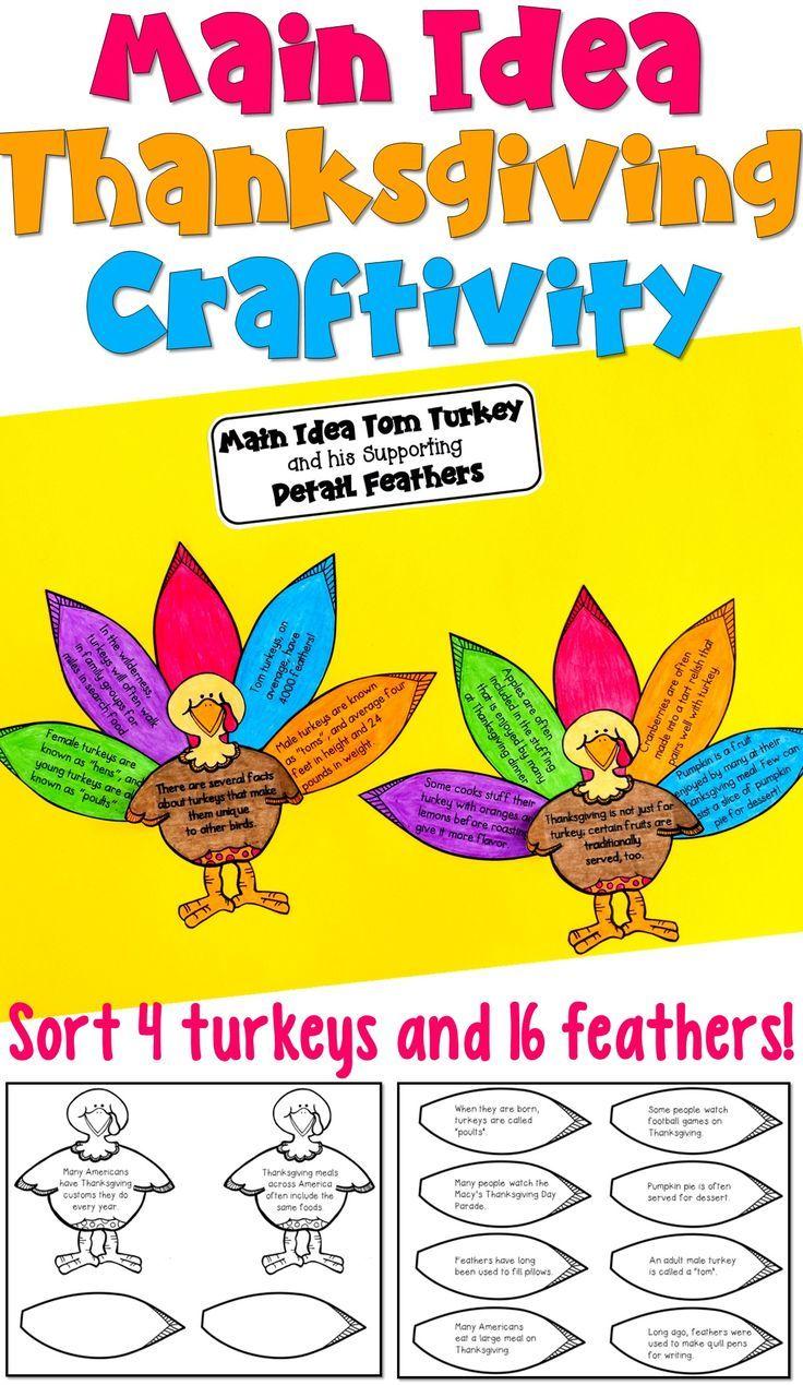 Thanksgiving Main Idea Craftivity 3rd 5th Thanksgiving Main Idea Third Grade Language Arts Activities 3rd Grade Reading