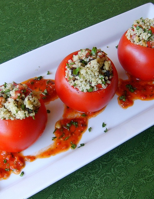 Mediterranean Quinoa Stuff Tomatoes with Sun-Dried Tomato Vinaigrette