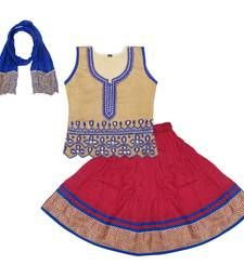 Buy Gold and Red Cotton lehnaga choli with blouse kids-lehenga-choli online