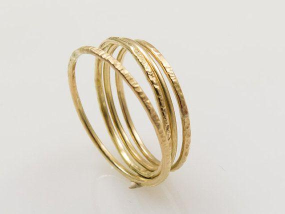 Ringen 333 goud geel goud 8 CT gehamerd stapelen ringen