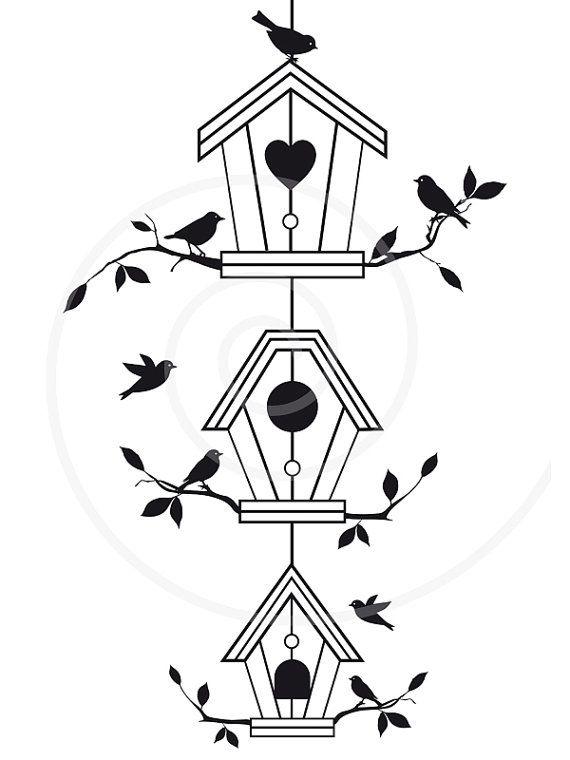 Cute bird houses with tree branches, birdhouse, pet house, digital clip art, clipart, clip-art, printable, housewarming, vector, download