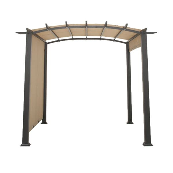 Hampton Bay 10 Ft X 10 Ft Steel And Aluminum Outdoor Patio Arched Pergola With Sliding Canopy Gfm00471a The Home Depot In 2020 Hampton Bay Pergola Outdoor Patio