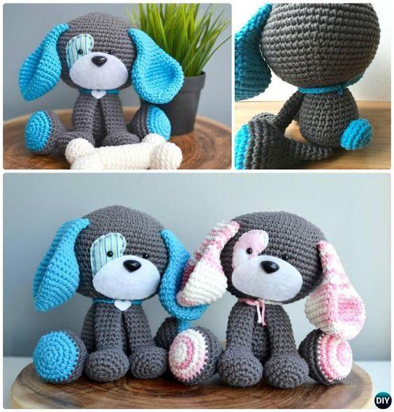 Patrones de bricolaje Domino El perro Amigurumi-Modelo del ganchillo ganchillo amigurumi del perro de perrito de peluche de juguete gratis