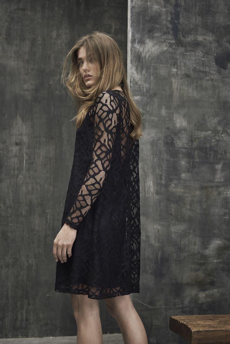 Black patterned loose dress.