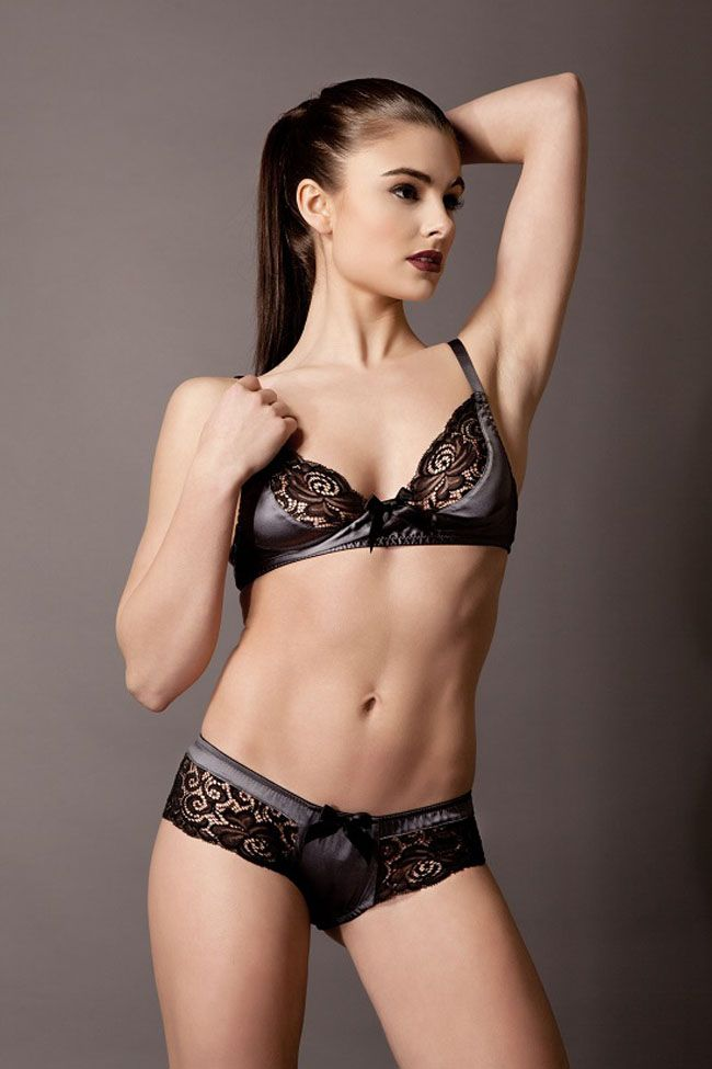 Emma Harris signature grey - soft bra - skirted thong